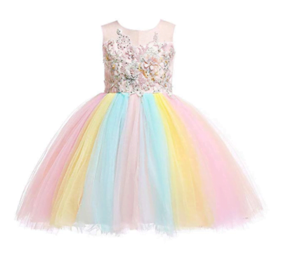 Weileenice 2-14T Girls Costume Cosplay Dress Kids Rainbow Tulle 3D Embroidery Beading Princess Dresses