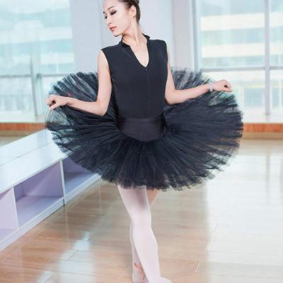 WENDYWU Women Professional Swan Ballet Tutu Skirt Hard Organdy Platter Performance Leotard Skirt